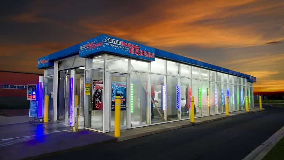car wash glass building branded fascia