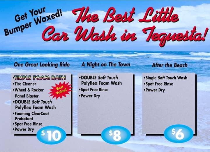 car wash signs menu